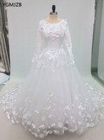 2018 мусульманские свадебные платья бальное платье с длинными рукавами 3D цветы жемчуг длинным шлейфом винтажное свадебное платье свадебные