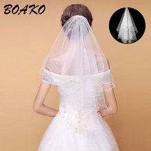 BOAKO 2019 Simple Short Tulle Wedding Veils Cheap White Bridal with Pearls Elegant Mariage Accessories Velo Novia