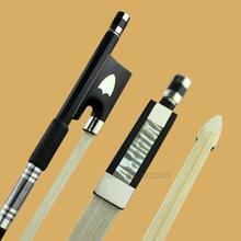 New Professional black carbon fiber violin bow white siberia horestail ebony frog nickel silver mounted free shipping