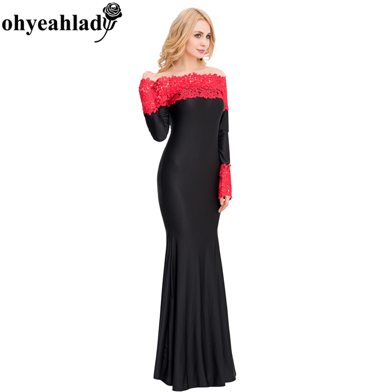 daa8b16e840 V1020 Ohyeahlady Dress Plus Size Three Color Summer Maxi Dress Boat Neck  Red Lace Evening Gown Elegant Dress Long Sleeve Dress
