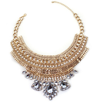 New Fashion Big Chunky Necklace Unique Design Delicate Shiny Gold Color Alloy Hollow Out Crystal Necklace