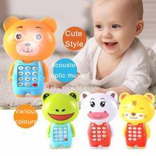 Мультфильм лягушка детские игрушки в виде животных светодиодный музыкальный мобильный телефон с светодиодный светильник шнур когнитивные Ранние развивающие детские игрушки для детей