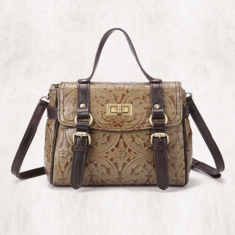 New Trend Women Genuine Leather Single Shoulder Bag Small Vintage Cross Body Messenger Bags Embossed Pattern Design Tote Handbag