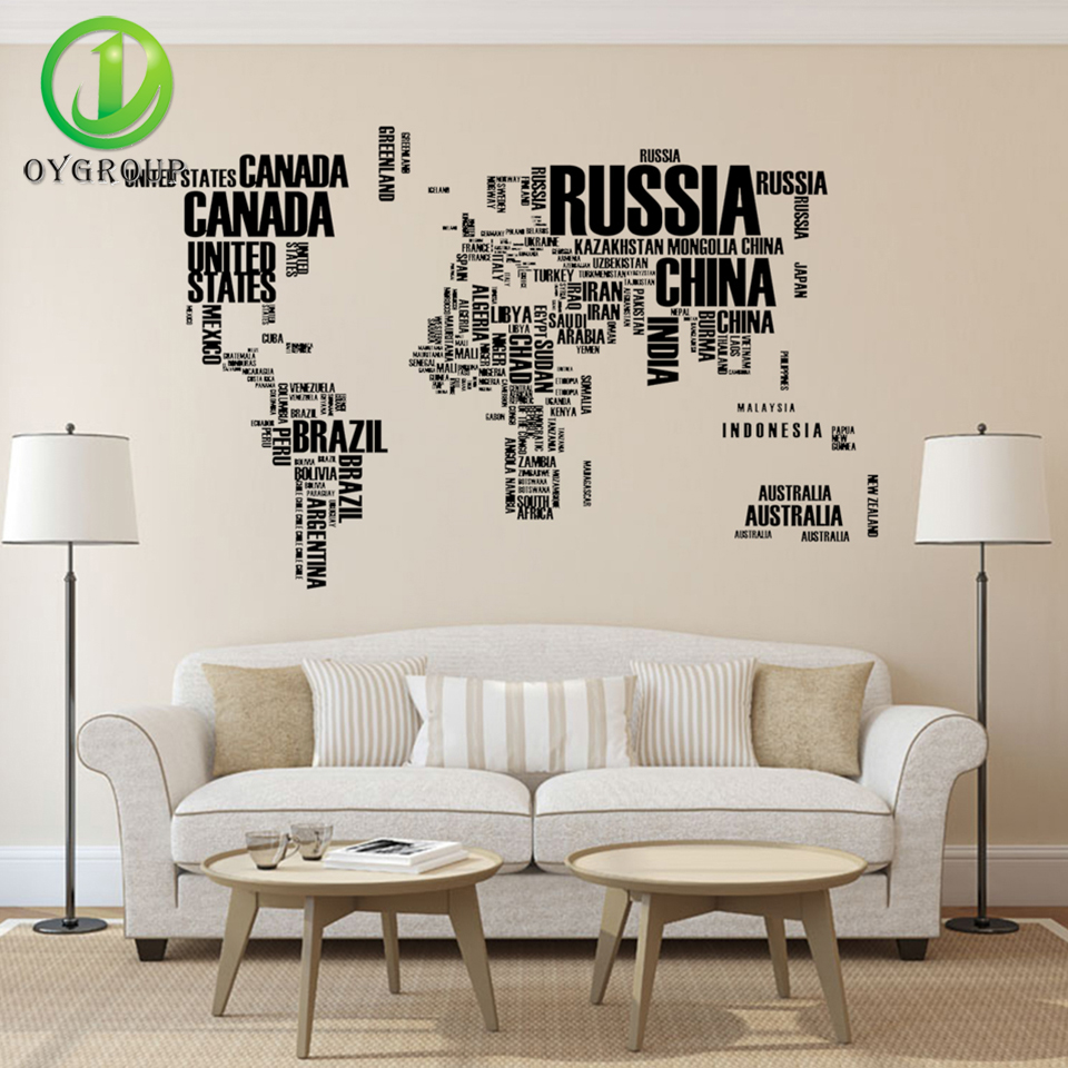English Black Letter World Map Style Removable PVC Wall Sticker Vinyl Decal Art Mural Home Decorative