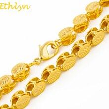 Ethlyn ماركة طول 60 سنتيمتر/العرض 8 مللي متر سلسلة مجوهرات الاثيوبية/الإريترية اليدوية الذهب اللون سميكة القلائد و سلسلة N032