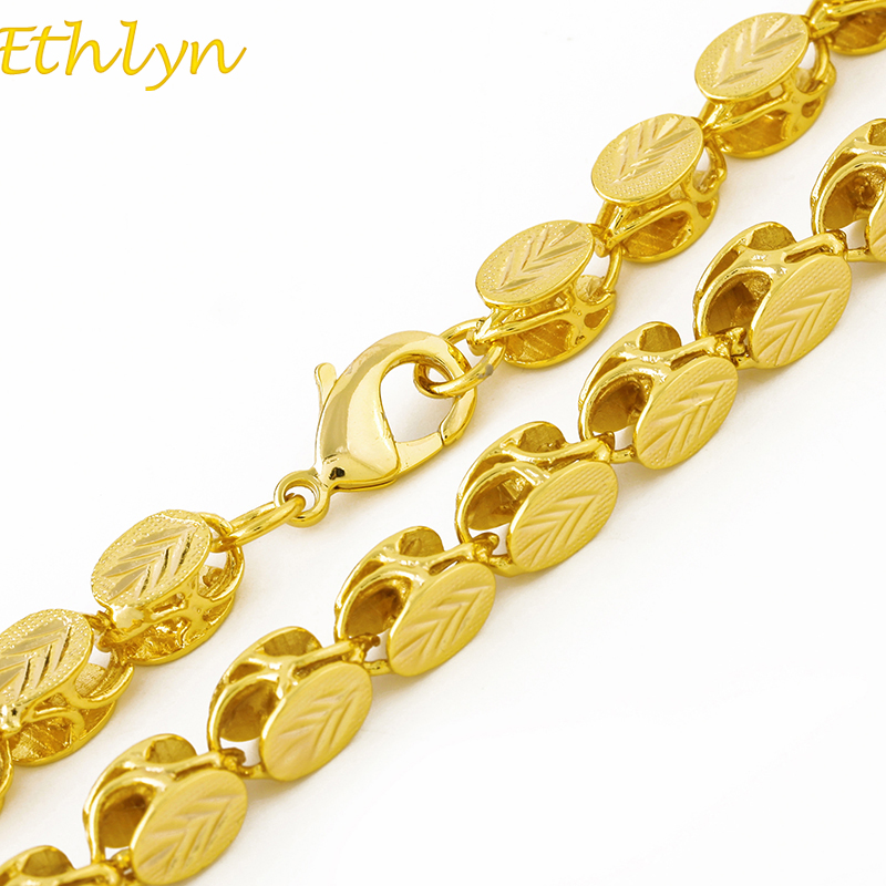 Ethlyn Brand Length 60cm/ Width 8mm Ethiopian/Eritrean Jewelry Chain Handmade Gold Color Thick Necklaces &Chain N032