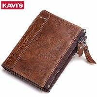 KAVIS Genuine Cowhide Leather Men Wallet Top Quality Male Short Coin Purse Double Zippers Men Purse