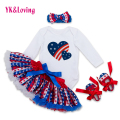 2017 Fashion Girl Clothing for Independence Day Party Cotton Long Sleeve Fluffy Skirt Tutu Casual Sets Baby Girl Clothes F5026