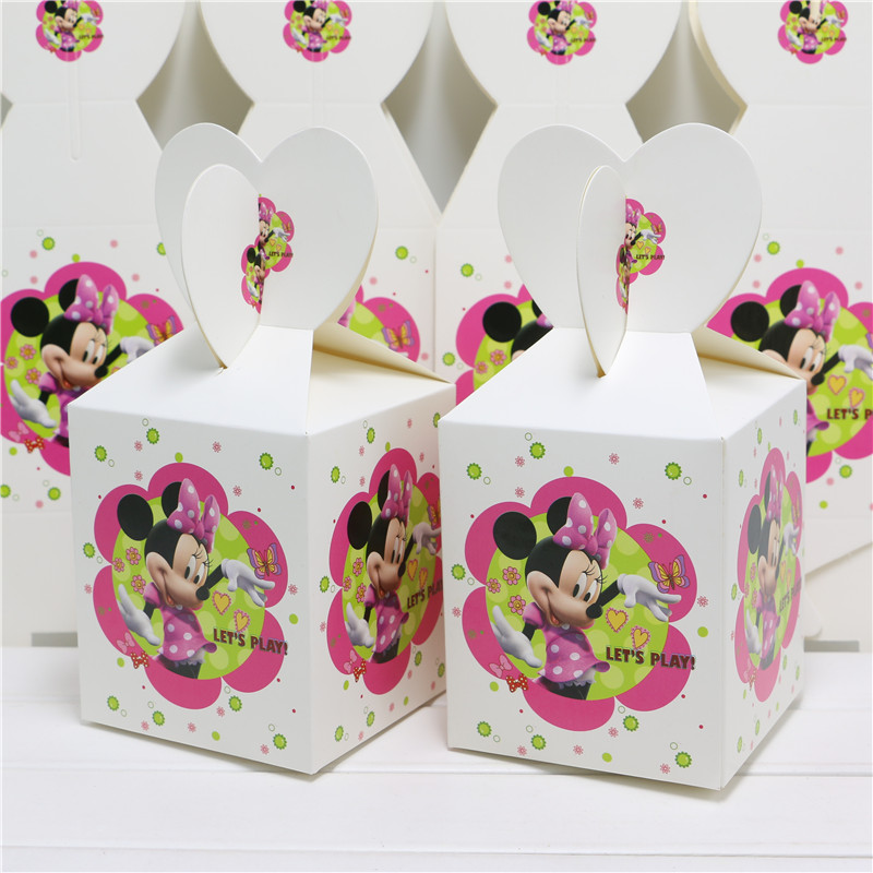 set of 8pcs baby shower favors cartoon minnie mouse favor candy box