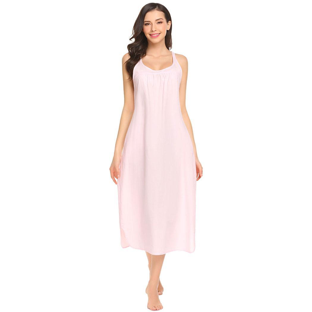 Ekouaer Cotton Night Dress Loose Sleeveless Long Nightgown Women Lounge Nightdress Female Plus Sleepwear Dress