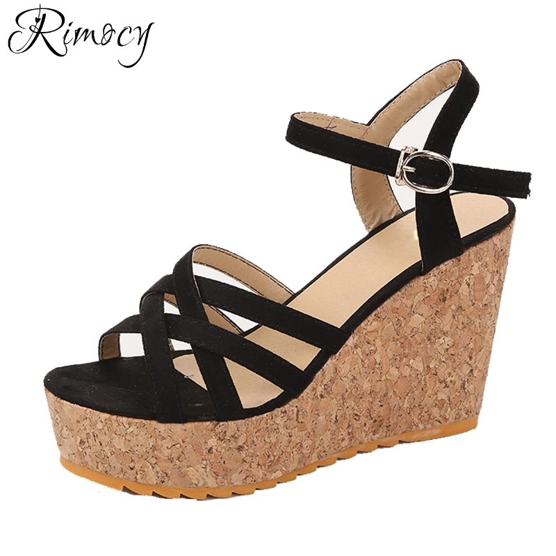 1d9d82f71945a Rimocy sexy cross straps women sandals 2018 summer fashion high platform  wedges shoes woman heels casual footwear pumps mujer