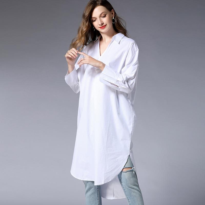 d3d74c51768a2 Lady grey Coton Parti Femmes Longues Printemps Black Robes white La Robe  Élégant Chemise Plus Blanc Lâche Taille 2019 ...