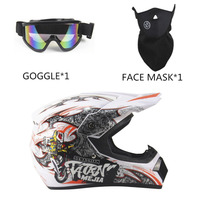3PCS SET Breathable Motorcycle Helmet Lightweight Full Face Racing Motorcycle Safety Unisex ABS Shell Motorbike Helmet