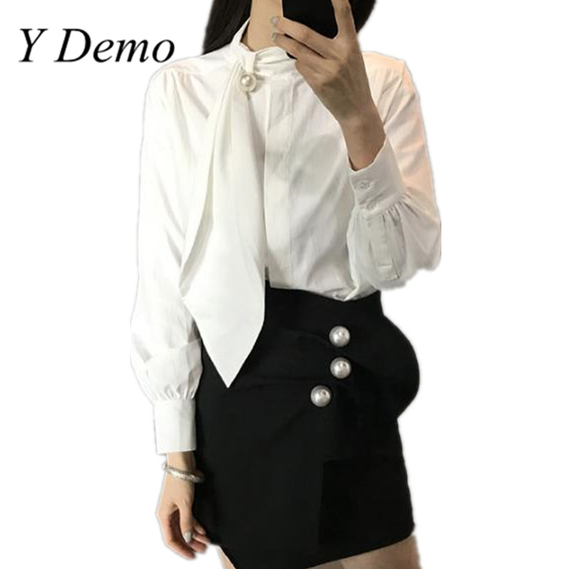 Y Demo Fashion Pearl Long Sleeve Irregular Women Shirts