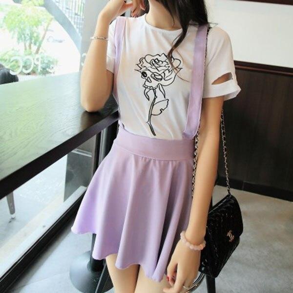 New Fashion Sexy Womens Suspender Skirt Belt Waist Skater -3441
