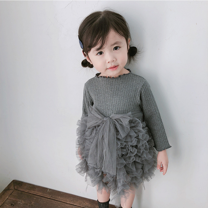 2019 Cotton Long Sleeve Knitted Kids Dresses For Girls Toddler Clothing Baby Girl Drees Tulle Patchwork Grey Pink White Spring 27