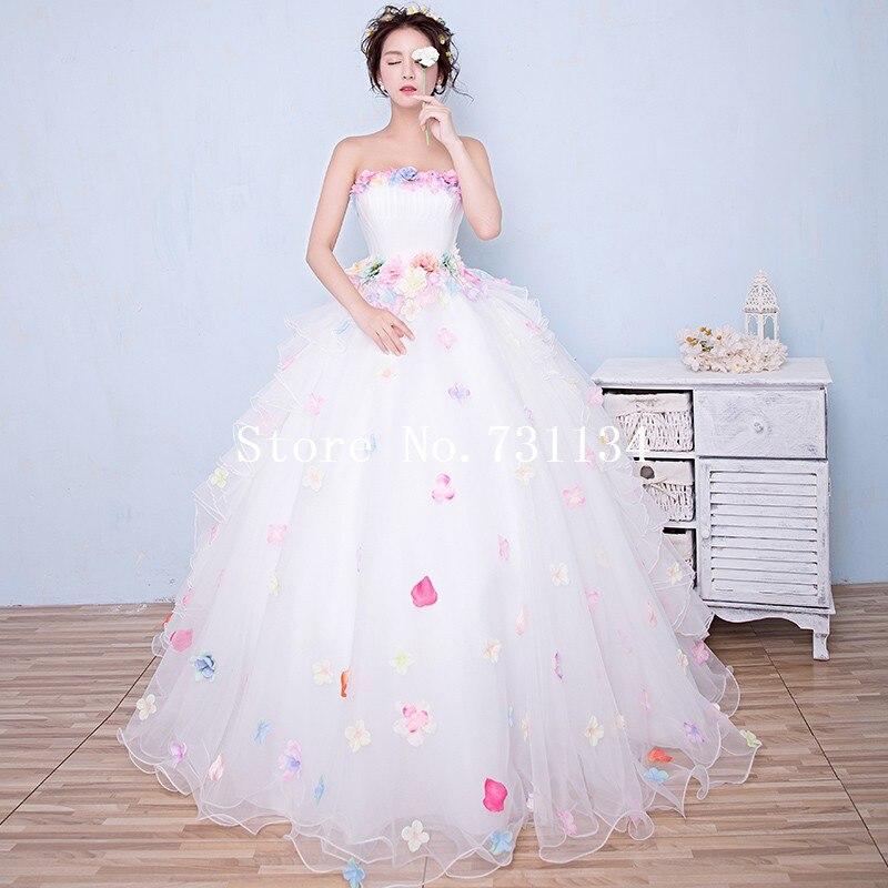 2ce89bb306 Elegant Ladies Mori Girl Color Bohemian Flower Mesh Strapless Dresses  Beautiful Faery Ball Gown Evening Party Long White Dress