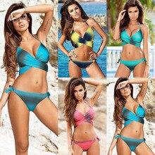 KOWELL 2018 Sexy Swimsuit Push up Swimwear Criss Cross Bandage Halter Bikini Beach Bathing Suit Swim