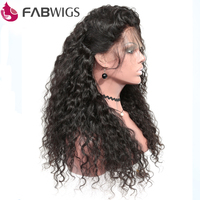 Fabwigs Full Lace Human Hair Wig For Women Natural Black Brazilian Curly Human Hair with Baby Hair Remy Hair