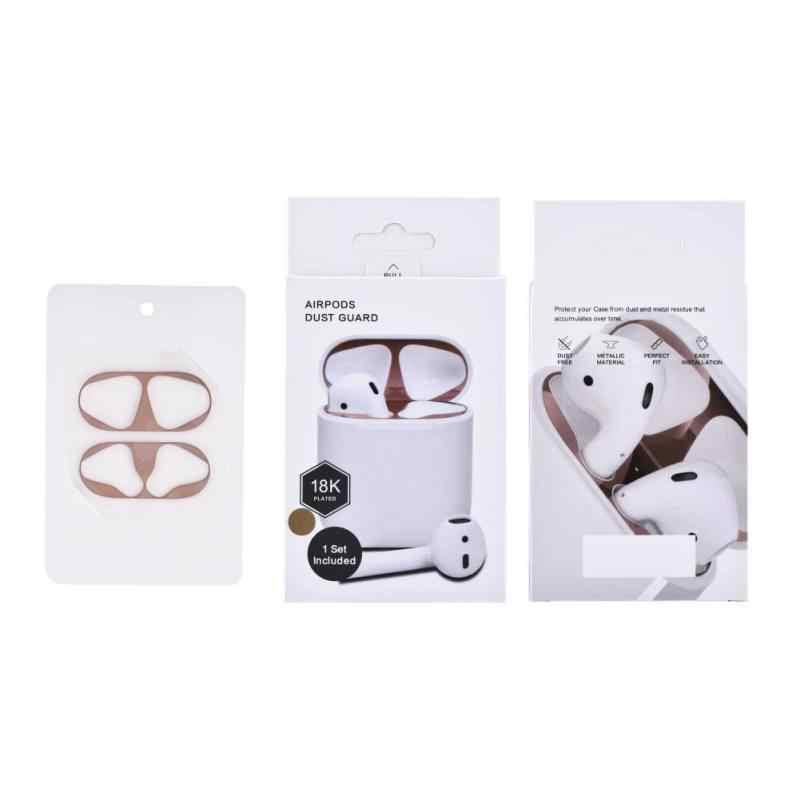 Dla Apple Airpods etui na słuchawki ochrony przed naklejki metalowe osłona przeciwpyłowa złoto srebro różowe złoto