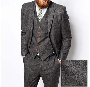 Wool Retro Grey Herringbone Tweed British style custom made Mens suit tailor slim fit Blazer wedding suits for men 3 piece