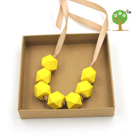 Light Coffee Ribbon Knot Hand Painted Yellow Necklace With Geometric Beaded Wooden Chunky Necklace Gift NW002