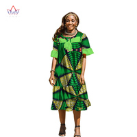 BRW 2017 New Summer Women Dresses Customized Dashiki Plus Size African Wax Print Dresses Loose Casual