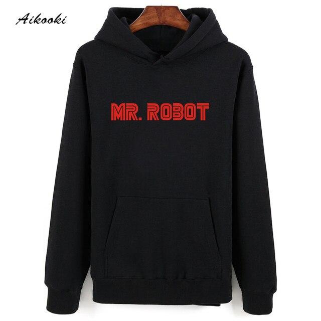 2017 hot Mr Robot Gris Negro Sudadera Con Capucha de Los Hombres de La Cadera Hop en Invierno Cálido Otoño Estilo Mens Hoodies y Sudaderas de gran tamaño