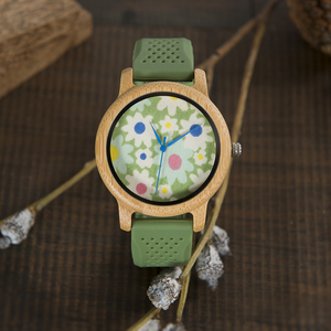 Image 5 - BOBO BIRD WB04 Fashion Causal Bamboo Watch with Fabric Dial Ladies Wood Watches With Soft Silicone Straps Quartz Watch With Box