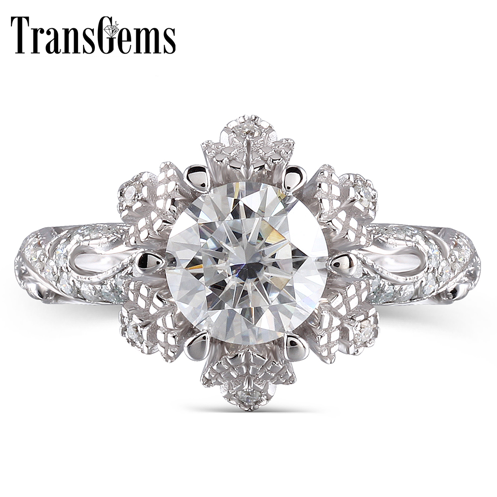 TransGems 14K White Gold 1ct center 6.5mm F color Moissanite Engagement Ring wedding ring Solitare with Accents-in Rings from Jewelry & Accessories    1