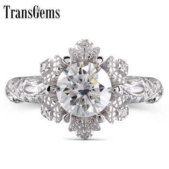 TransGems 14K White Gold 1ct center 6.5mm F color Moissanite Engagement Ring wedding ring Solitare with Accents - DISCOUNT ITEM  5% OFF All Category