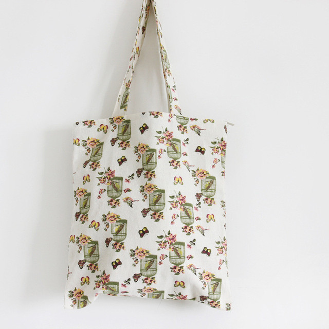 6dd678e7d YILE Cotton Canvas Shopping Tote Shoulder Carrying Bag Eco Reusable Bag  Print Bird in Cage & Flower L052