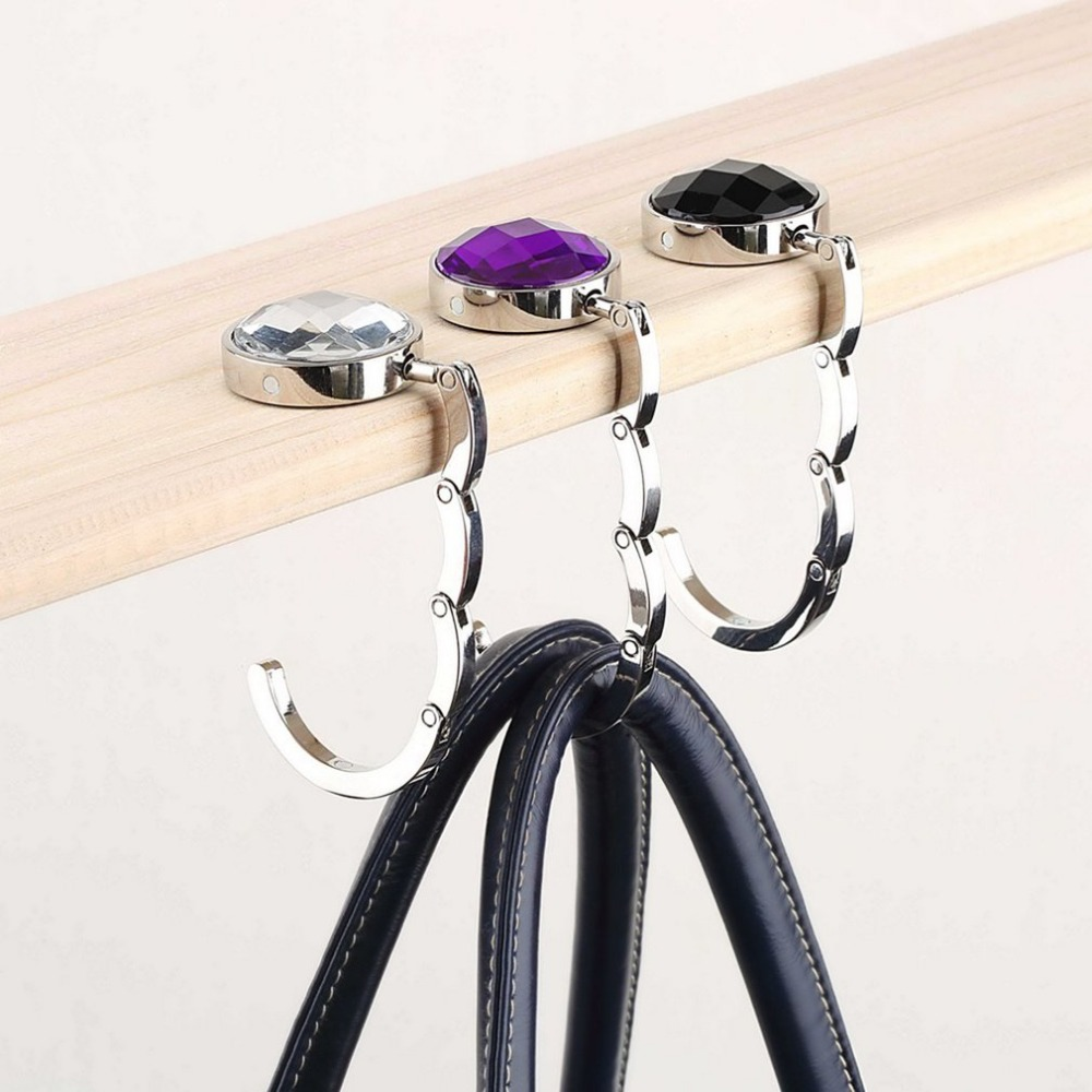 3Colors Bag Keychain Hook Portable Foldable Folding Table Purse Bag Hook Hanger Holder Handbag Crystal Rhinestone Decoration