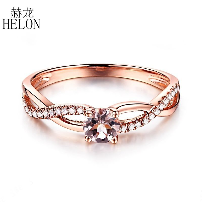 HELON Solid 14K Rose Gold Round Cut 4.5mm Morganite Ring Pave SI/H Natural Diamond Engagement Wedding Gemstone Fine Gift Ring solid 14k rose gold 4 5mm round cut natural morganite engagement ring si h full cut natural diamonds wedding ring fine jewelry