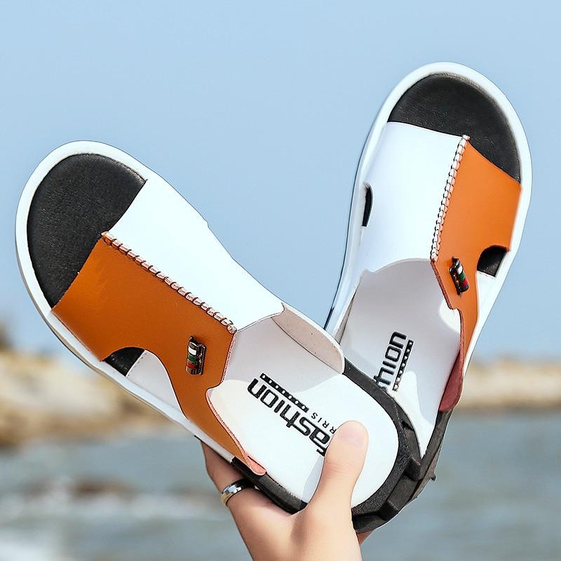 Hot Sandals Men Summer Slippers 2019 Fashion Peep Toe PU Flip Flops Shoes Male Outdoor Non-slip Flat Beach Slides Big Size 38-46