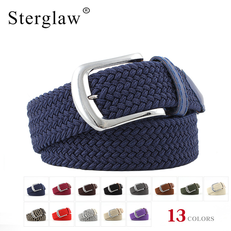 Sterglaw 107cm korean Casual stretch woven unisex Canvas elastic belts for women