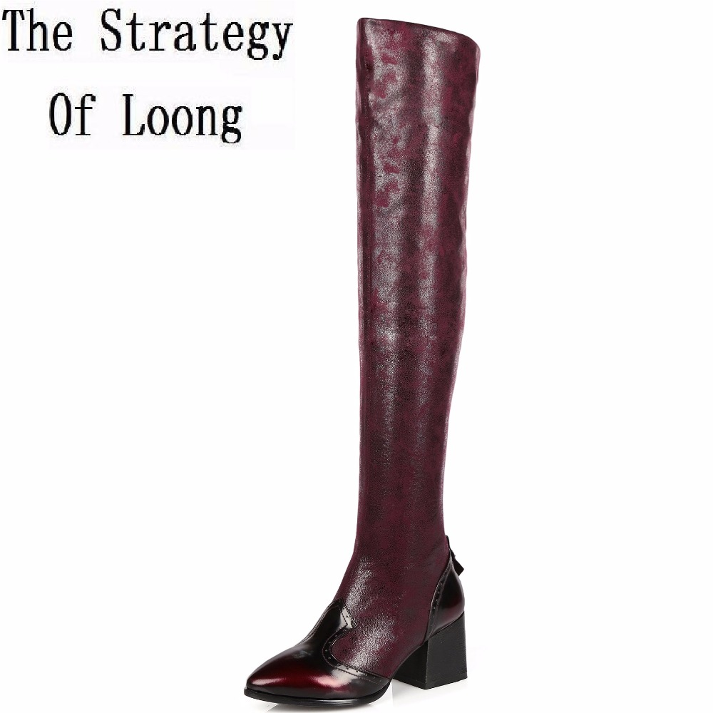 2017 New Stretch Slip-On Short Plush Real Leather Women Boots Winter Pointed Toe Square Heel Basic Over The Knee Boots ZY170906 craghoppers women s kiwi pro stretch short