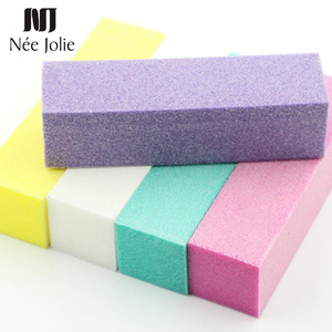 1 Pc Nail File Grinding Sanding Block Buffer Pink Blue White Color Cuboid Shape Professional Tool for Nail Art