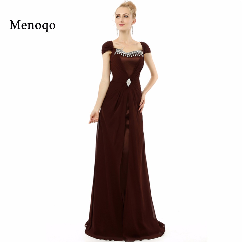 Vestidos de festa Elegant A line Chiffon Cap sleeve Beaded Special Occasion Robe De Soiree Long   Prom     Dresses   Real Photo