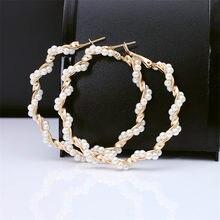 New Boho White Imitation Pearl Round Circle Hoop Earrings Women Gold Color Big Earings Korean Jewelry Brincos Statement Earrings