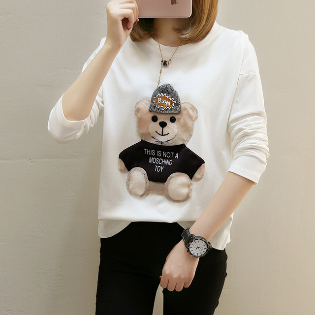 Autumn Tops For Women 2018 Long Sleeve Render Harajuku t shirt women Cartoon Bear Bottoming Shirt Large Size XL-2XL-3XL