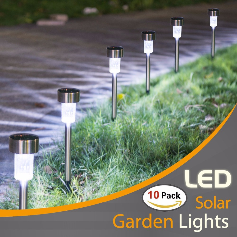 10PCS Solar Lights Outdoor- Solar Powered Pathway Light - White/Multiple- Landscape Light For Lawn/Patio/Yard/Walkway/Driveway