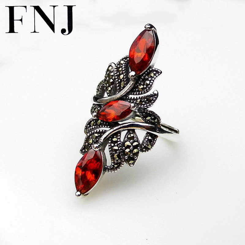 FNJ 925 Silver Big Flower Ring New Fashion Red Zircon Original S925 Sterling Silver Rings for Women Jewelry Adjustable Size