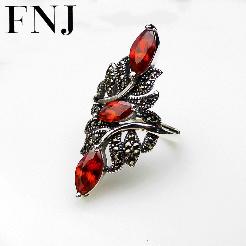FNJ 925 Silver Big Flower Ring New Fashion Red Zircon Original S925 Sterling Silver Rings for Women Jewelry Adjustable SizeFNJ 925 Silver Big Flower Ring New Fashion Red Zircon Original S925 Sterling Silver Rings for Women Jewelry Adjustable Size