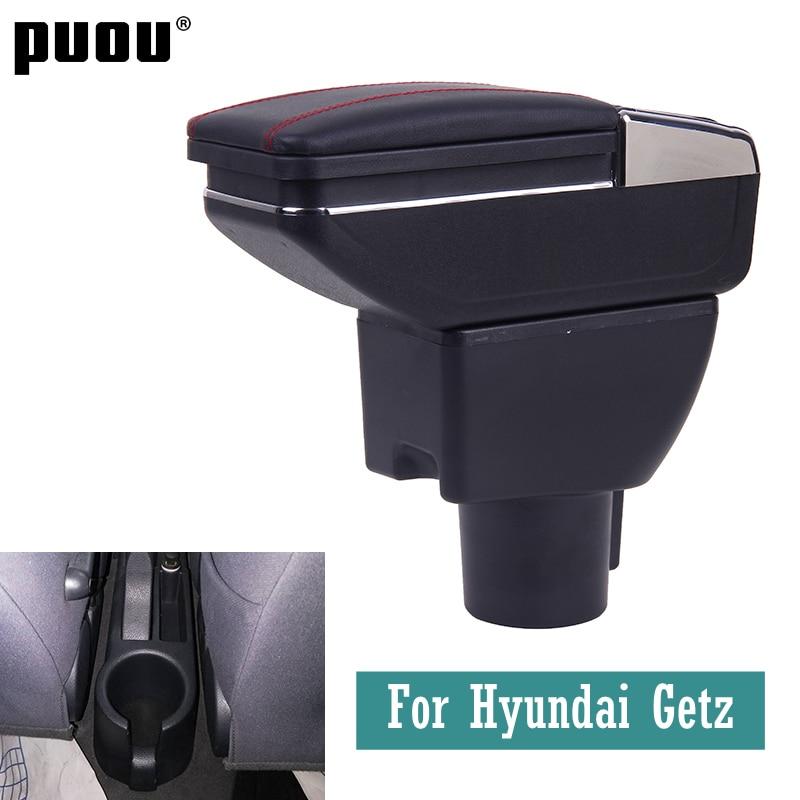 Автомобильный подлокотник для Hyundai Getz, вращающийся центральный ящик для хранения вещей с пепельницей, usb-зарядка, декоративные аксессуары д...