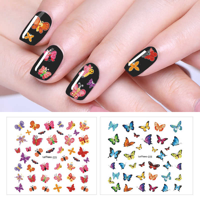 LEMOOC Cute Animals Series Water Decal Nail Transfer Sticker 1 Sheet Nail Art Decoration for Manicure Watermark 24 Patterns