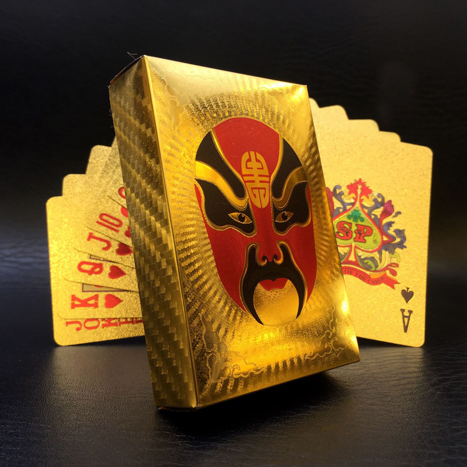 Gold Foil Poker Waterproof PVC Plastic Playing Cards Special Beijing Opera Poker Cards Collection