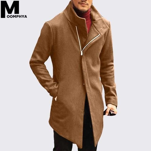 Moomphya ロングウインドブレーカー男性のジャケットの冬ジッパートレンチコート男性生き抜くやつジャケット男性ストリート veste オム