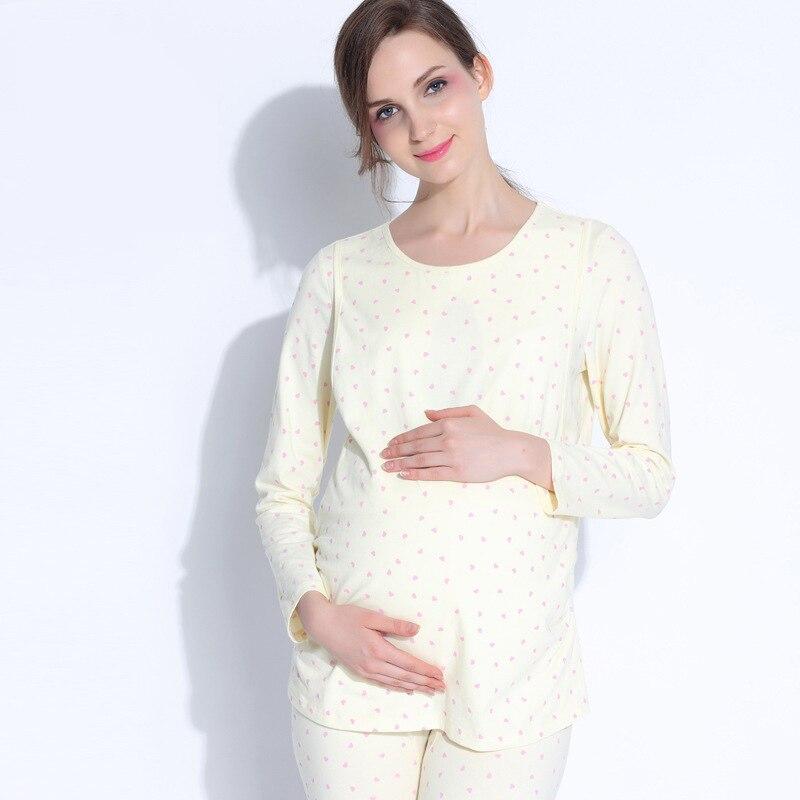 New Materinty Cotton Nursing Pajamas Long Sleeve Solid Pajamas Set Maternity Tops+Pant Sleepwear Clothes for Pregnant Nursing