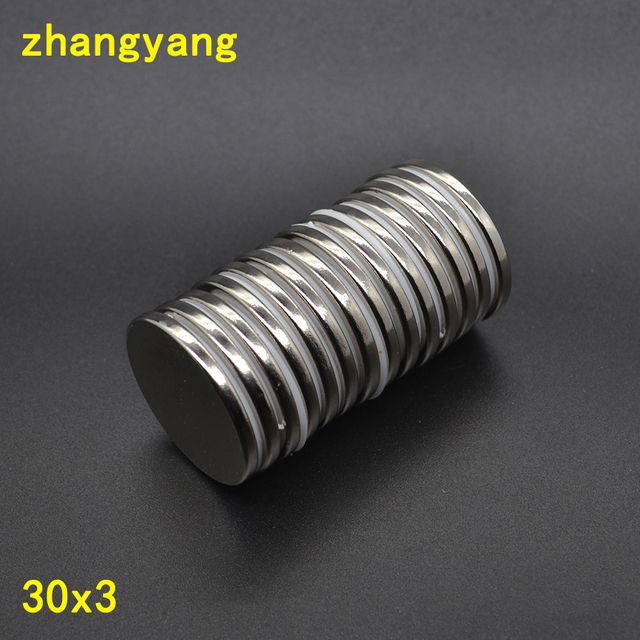 10PCS 30 mm x 3 mm Disc Super Strong Round Magnets 30*3 Rare Earth Neo  Neodymium N35 Circular magnet Permanent magnet 30x3-in Magnetic Materials  from